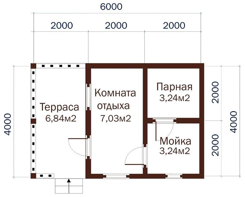 Проект бани размером 4х6 м с парной, комнатой отдыха, помывочной и террасой
