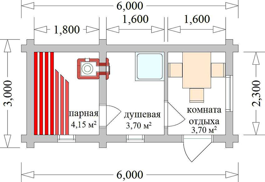 Проект бани 6х3 метра с душевой и комнатой для отдыха