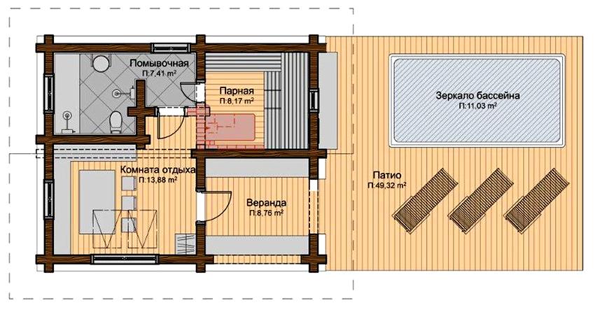 Проект бани с парной, помывочной, комнатой отдыха, верандой и бассейном на открытой террасе