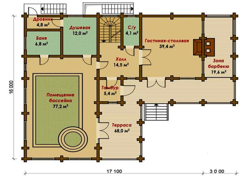 Проект большого банного комплекса размером 16 на 20,1 метра