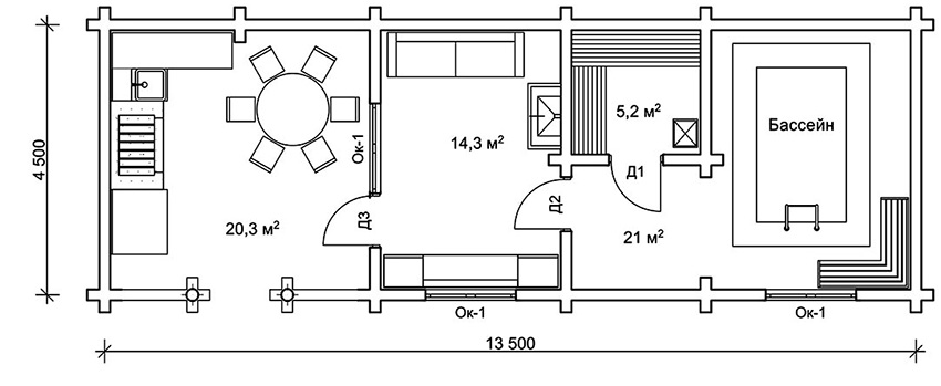 Проект бани с бассейном: терраса – 20,3 м², комната отдыха – 14,3 м², парная – 5,2 м², бассейн – 21 м²