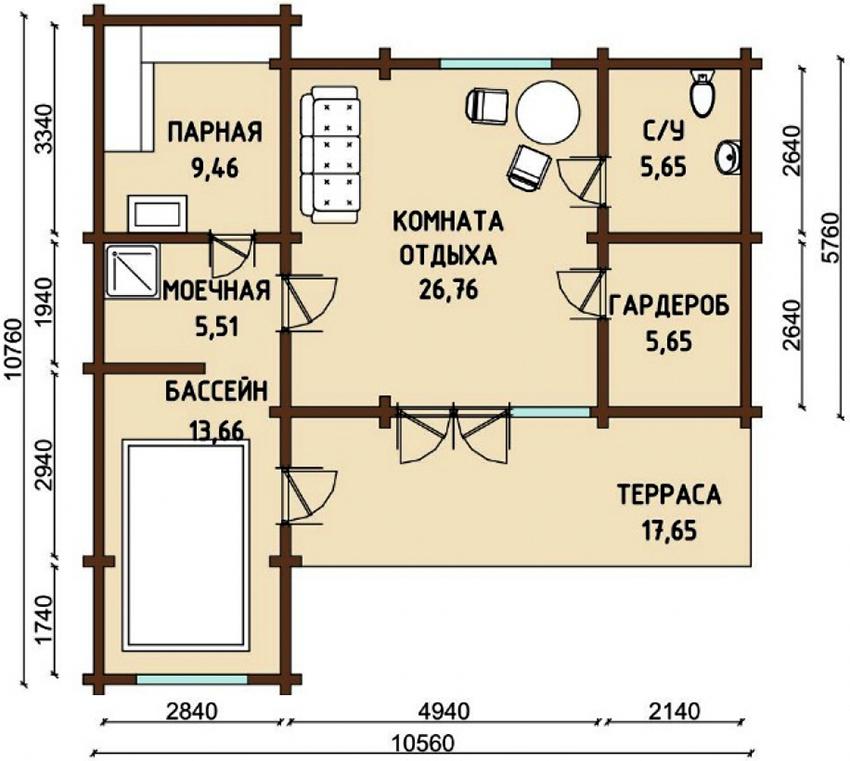 Проект бани размером 10,76х10,56 м с бассейном, террасой и комнатой отдыха