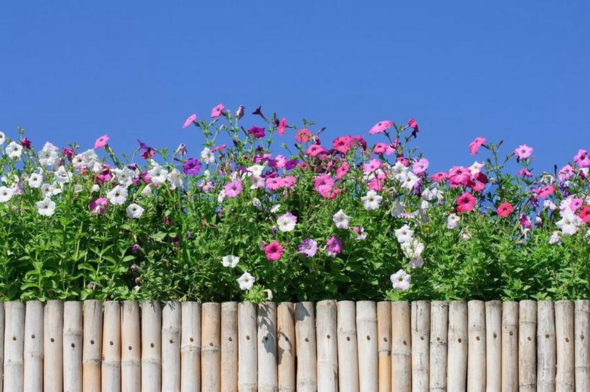 Декоративный заборчик из натуральных материалов выглядит естественно и органично