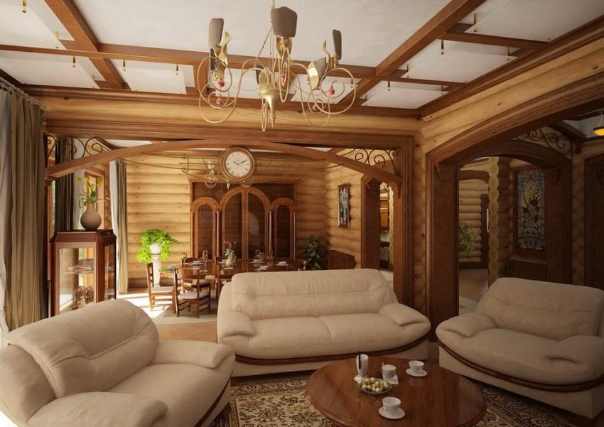 При помощи гипсокартона, в сочетании с деревом, можно сделать красивый проект дома с индивидуальным дизайном