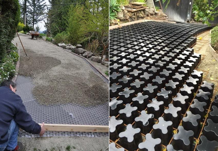 Нередко модульные пластиковые георешетки используют для создания подъездных и садовых дорожек