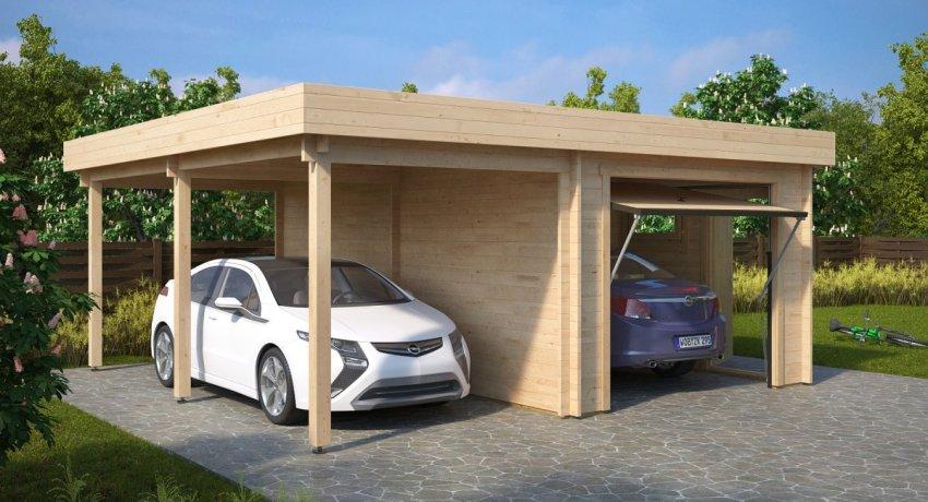 Дерево, в качестве материала для возведения гаража, имеет ряд преимуществ: экологически чистое, энергосберегающее и уместное в ландшафтной композиции