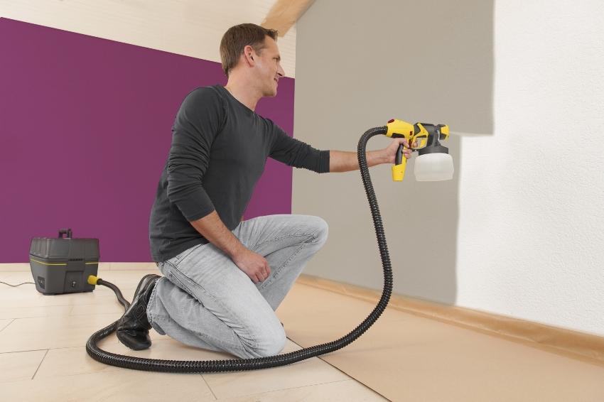 Краскопульт можно применять для нанисения водоэмульсионных и масляных красок, также лака, жидкой резины, грунтовки