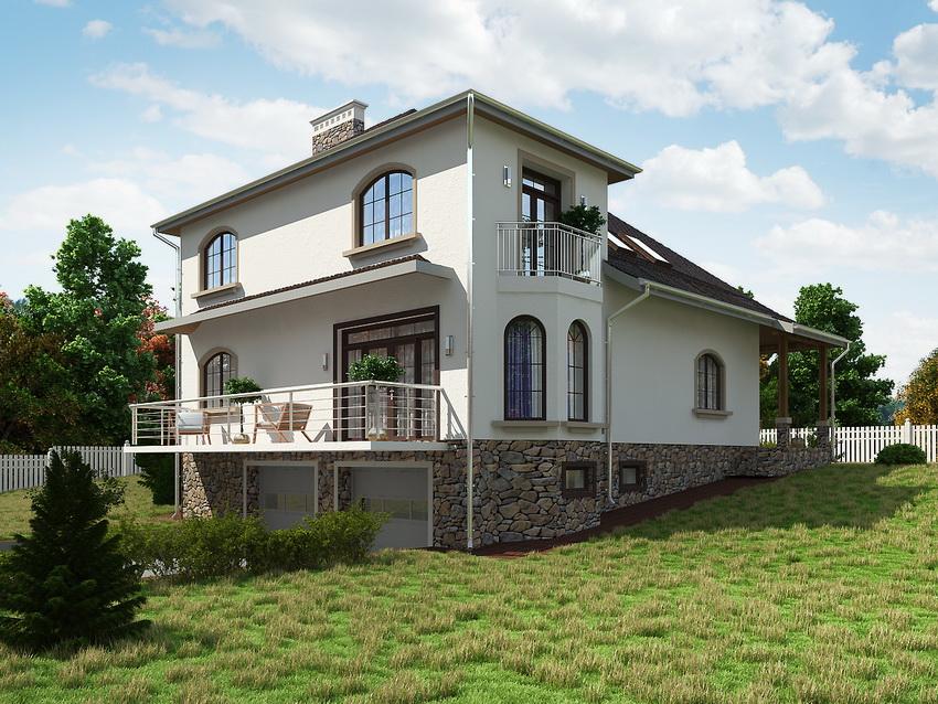Дом с цокольным этажом отлично подходит для участков с неровным ландшафтом или склоном
