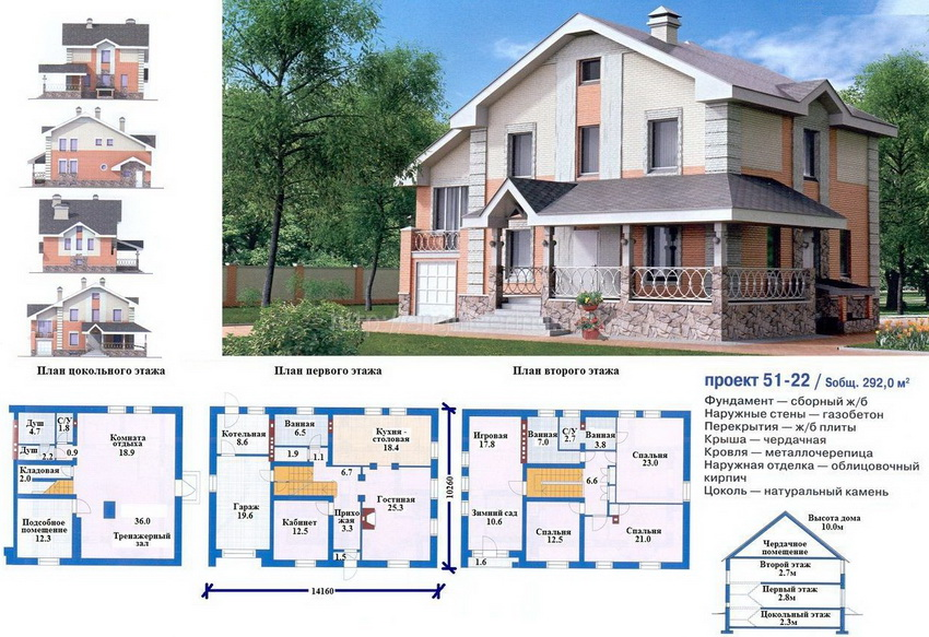 Готовый проект дома с мансардой и цокольным этажом