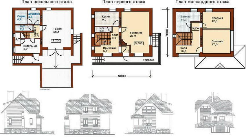 План двухэтажного дома с цокольным этажом
