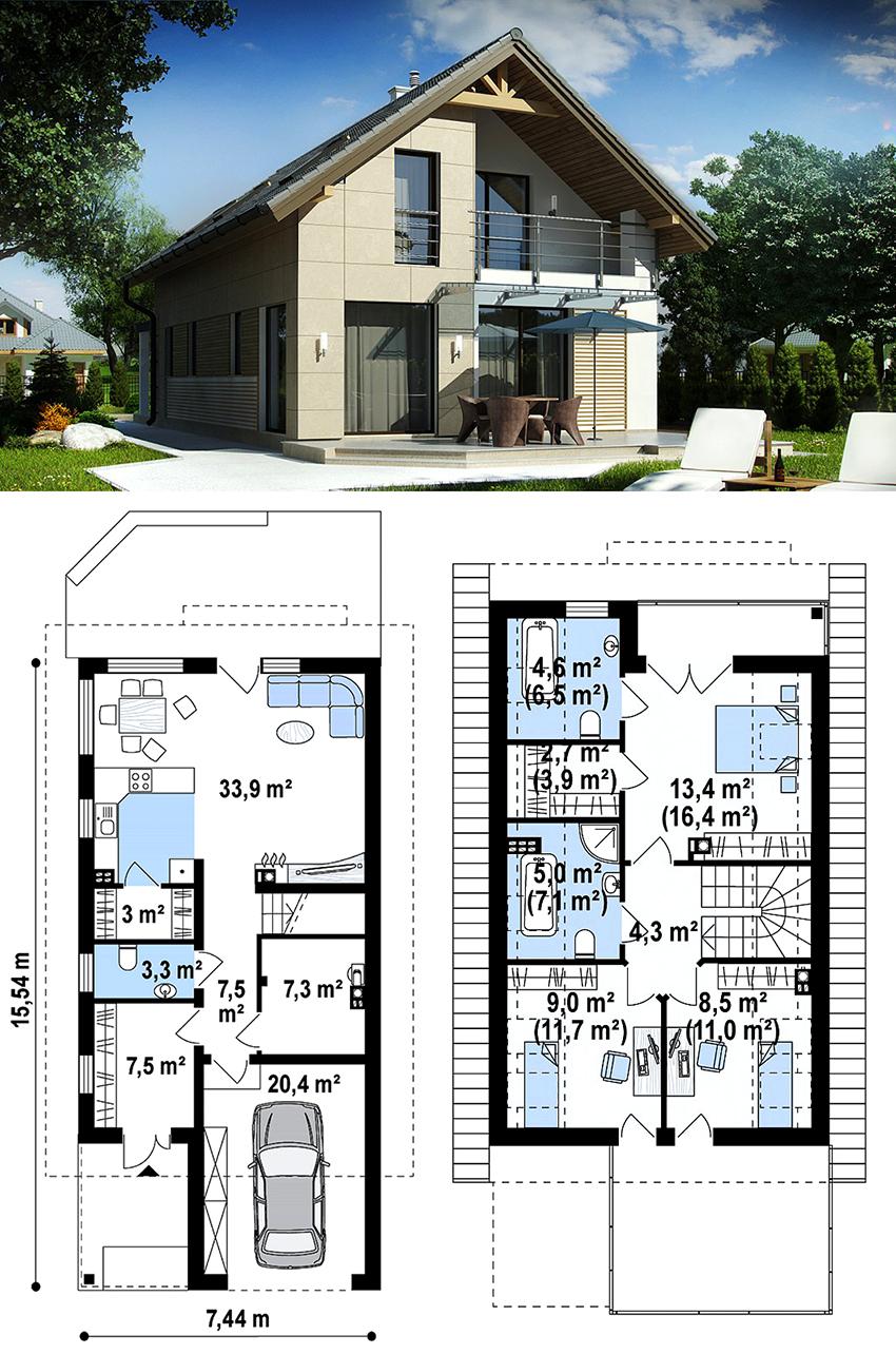 Если дом имеет прямоугольную форму, то гараж лучше расположить с торца