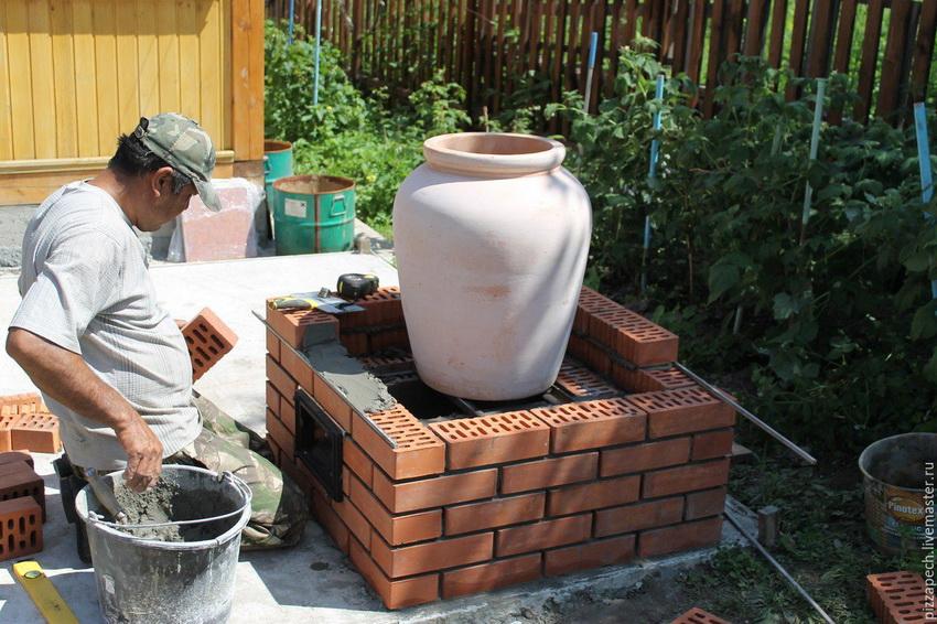 На основание устанавливается конструкция из глины и обкладывается кирпичом