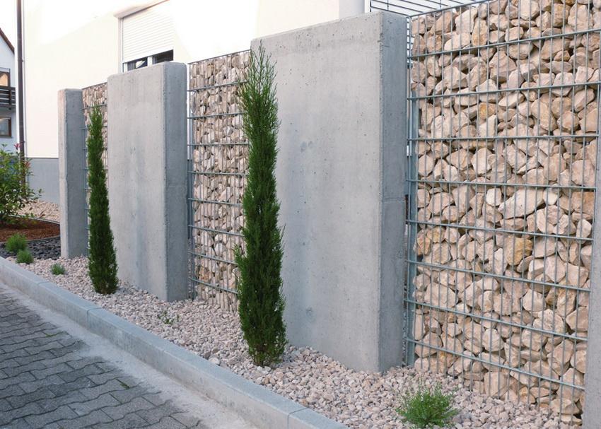 Габион превосходно сочетается с другими материалами: деревом, бетоном и металлом