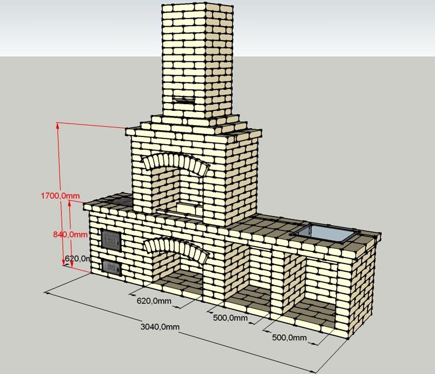 Проект барбекю из кирпича размером 1,70х3,04 м с рабочей зоной и трубой