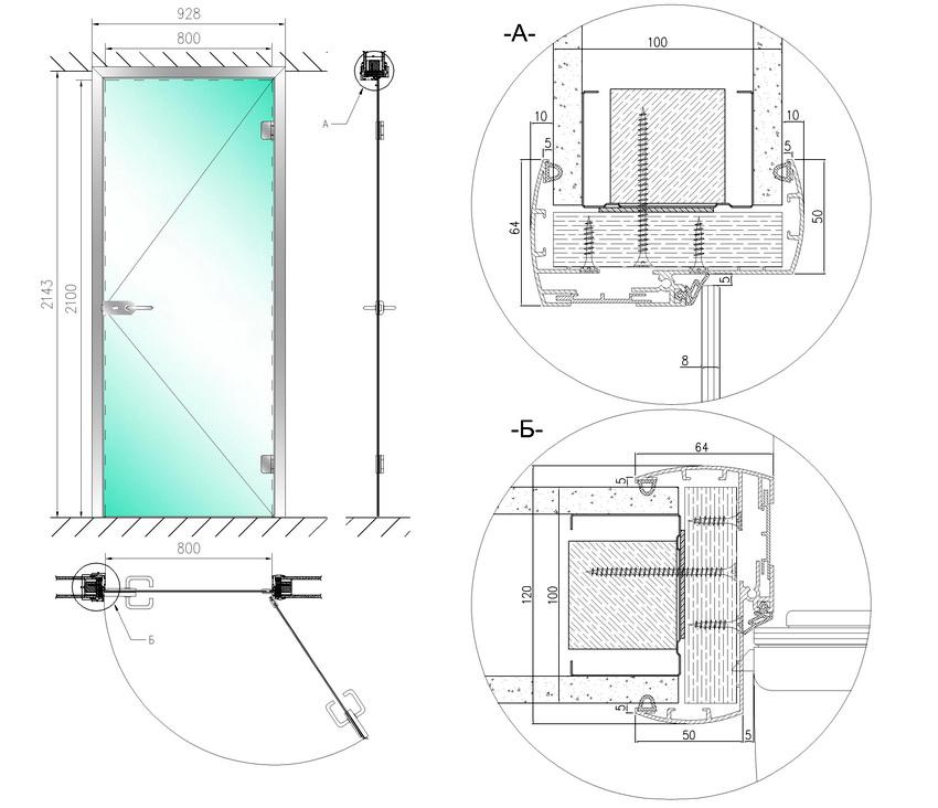 Схема распашных стеклянные межкомнатных дверей с размерами