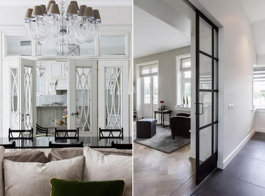 Стеклянные двери визуально увеличивают помещение и делают потолки выше