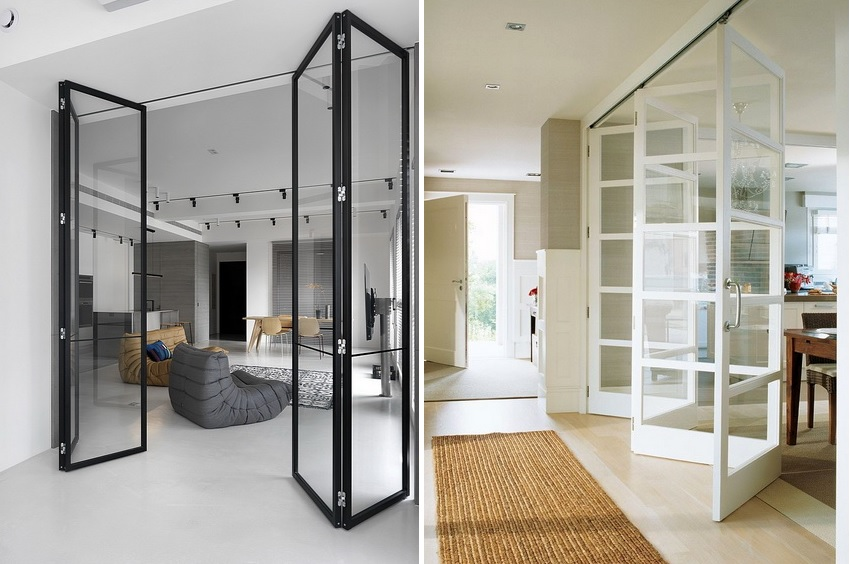Складные двери превосходно экономят пространство комнаты