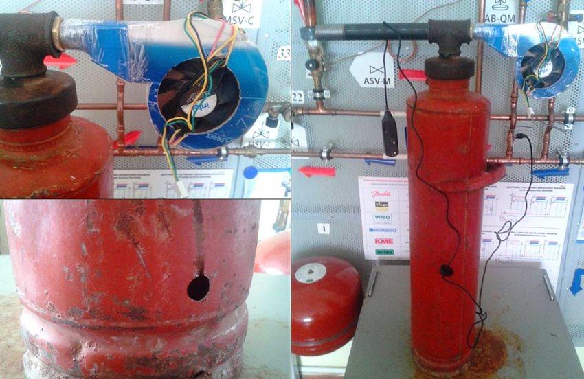 Из огнетушителя дым в камеру для копчения попадает через дюймовую трубу длиной 150‑250 мм, вкрученную в тройник
