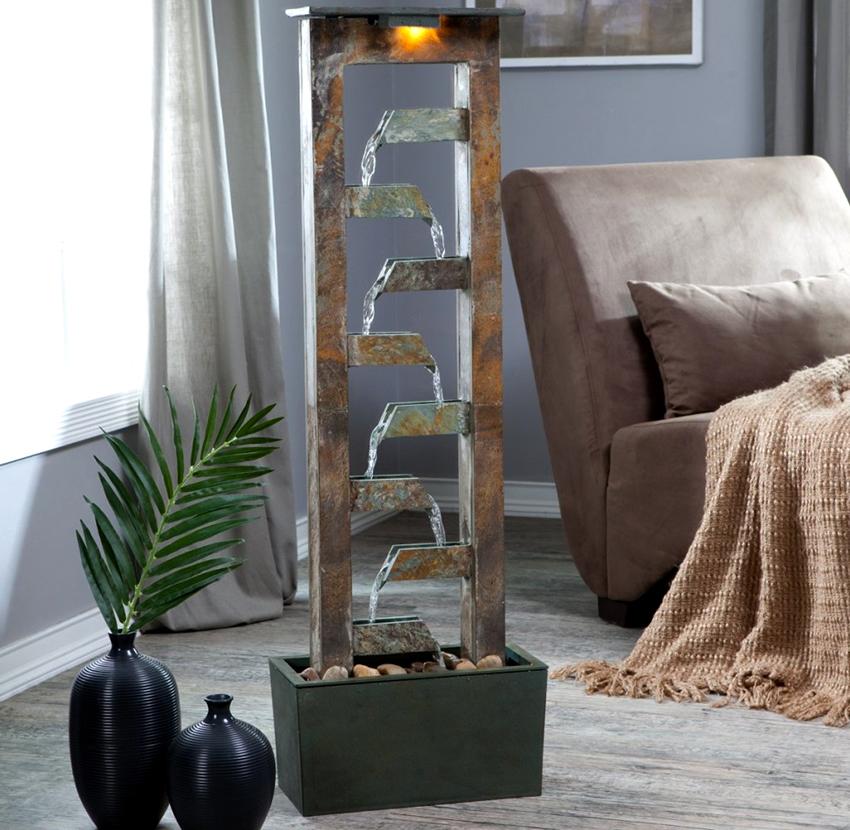 Для создания успокаивающей атмосферы можно сделать маленький фонтан в квартире