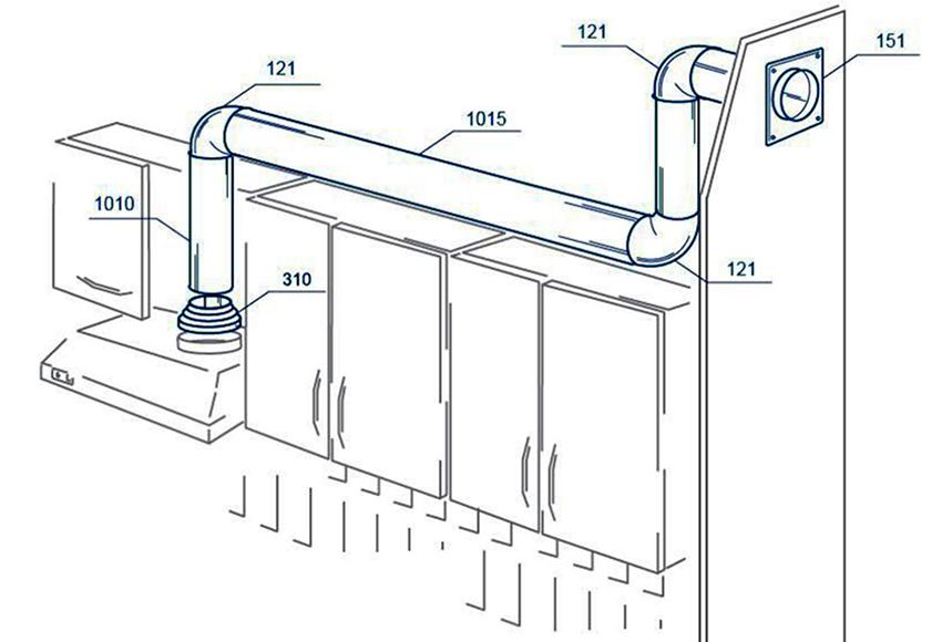 Схема установки гофрированной трубы на вытяжку с размерами