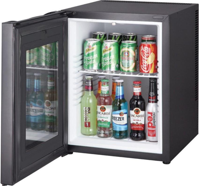 Маленький прозрачный холодильник можно использовать дома, в кафе или магазине