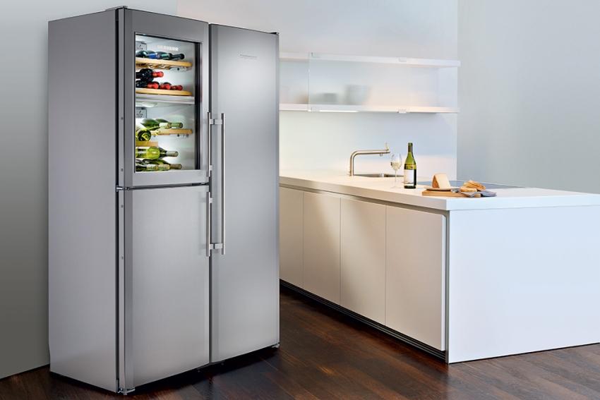 Холодильник может иметь закрытые дверцы и прозрачные, например, для отделения для напитков