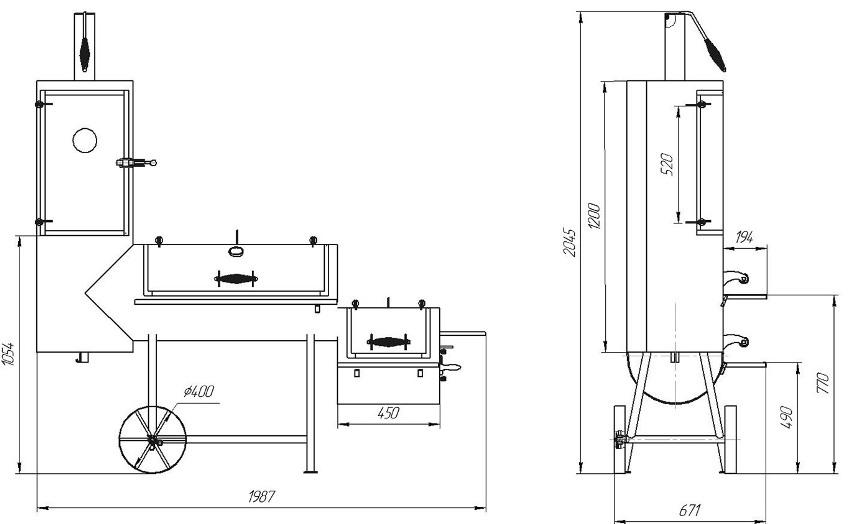 Схема с размерами коптильни горячего копчения