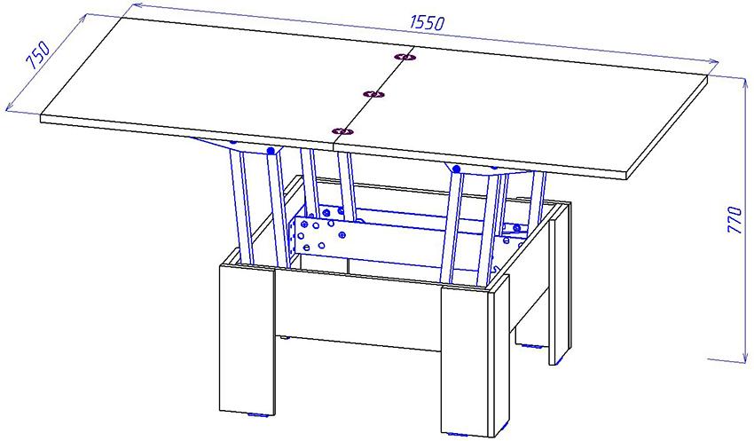 План стола-трансформера для беседки или веранды