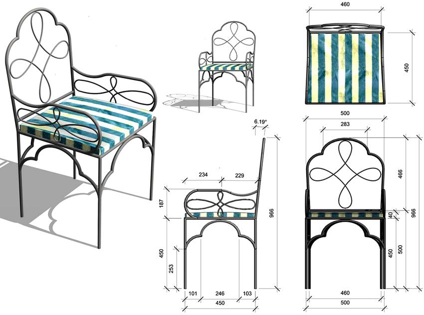 Эскиз стула в беседку для изготовления своими руками