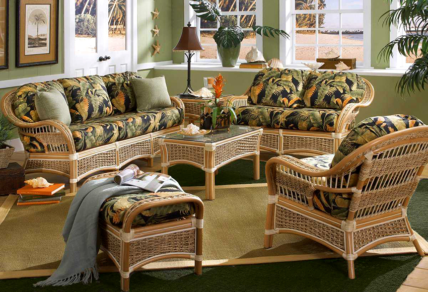 Armchairs made of rattan can be of various shapes and made in different styles
