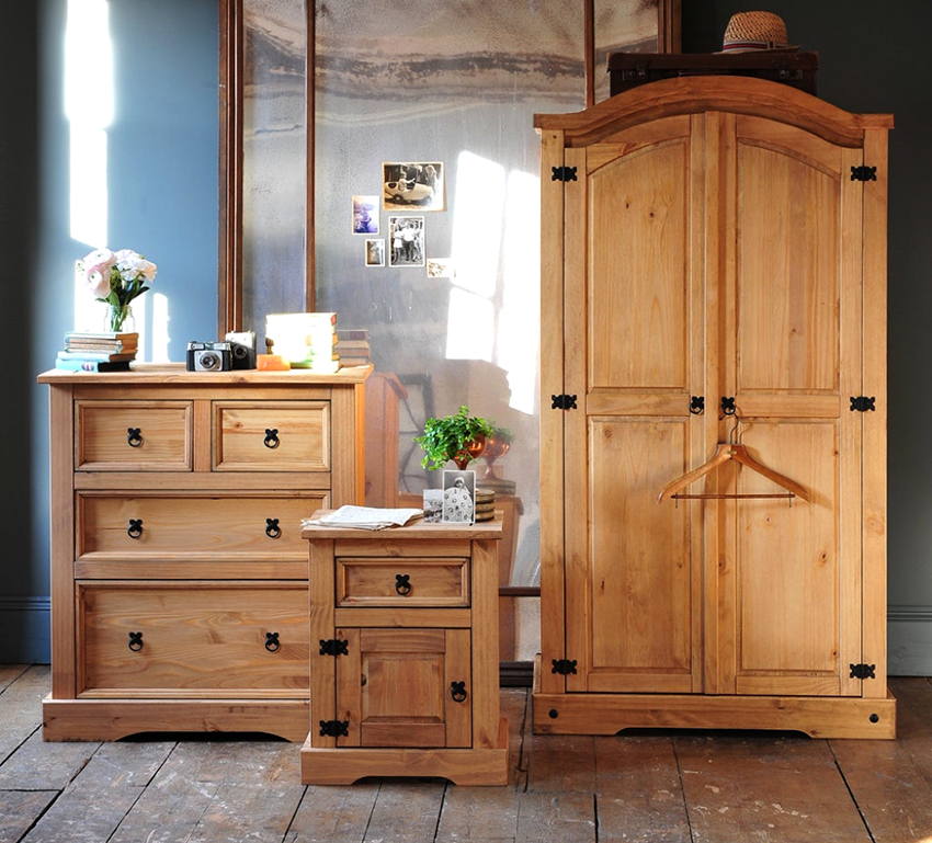The most popular element of pine furniture is the closet