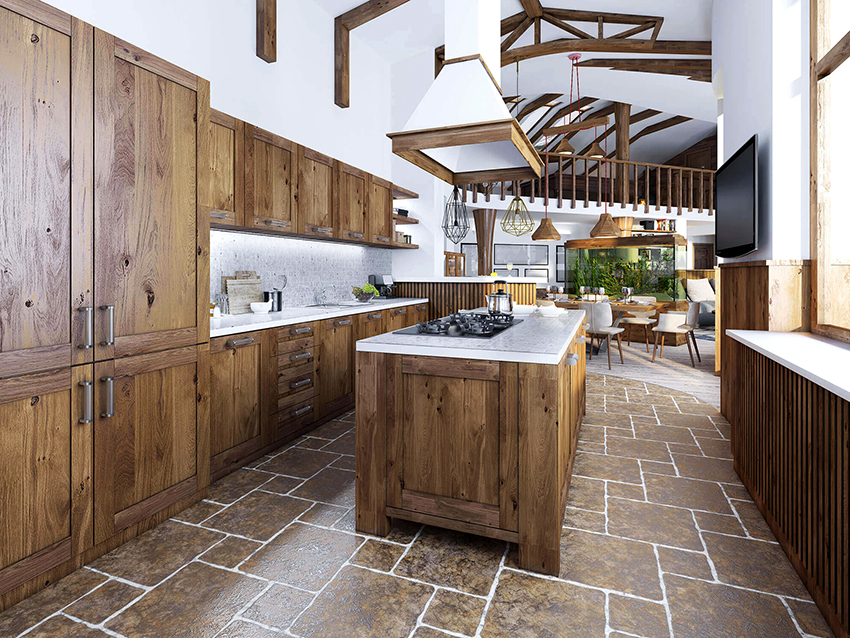 Kitchens made of pine wood can look simple and stylish, or elegant and elegant