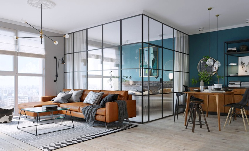 Aluminum profile partition allows you to make the interior unique, original, quite cozy and multifunctional