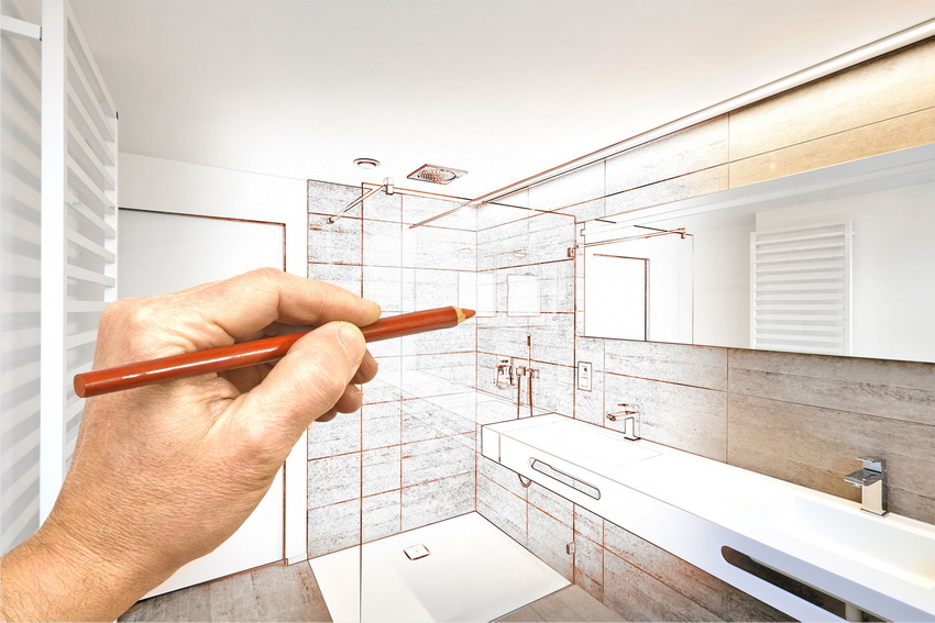 Помимо прямого предназначения перегородка из стекла служит для создания уникального дизайна ванной