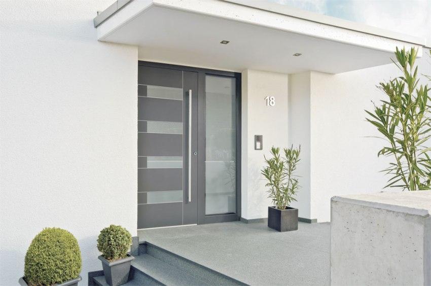 Металлическая входная дверь со стеклопакетом – это намного более интересный вариант для загородного дома, нежели обыкновенная глухая дверь