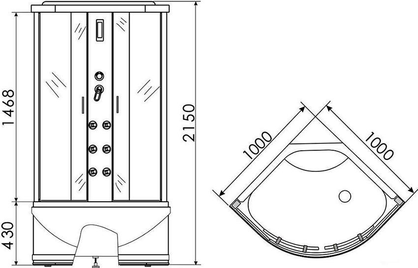 Симметричная угловая душевая кабина размером 1000х1000 мм и высотой 2150 мм