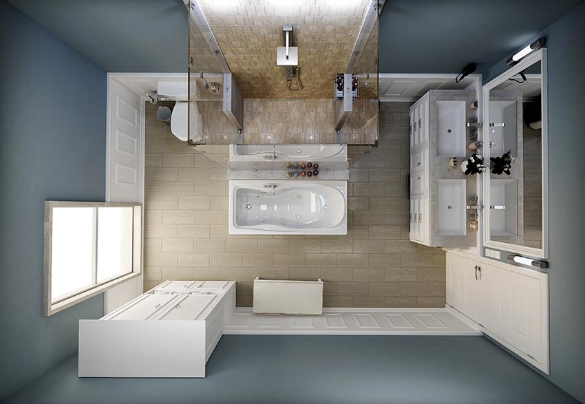 Кроме душевой кабины в ванной комнате должны находиться унитаз, умывальник, шкаф и зеркало