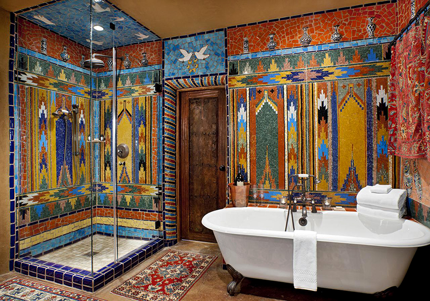 Довольно нестандартно выглядят ванные комнаты в марокканском стиле