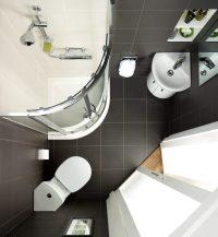Для маленьких ванных комнат оптимальным решением является душевой уголок
