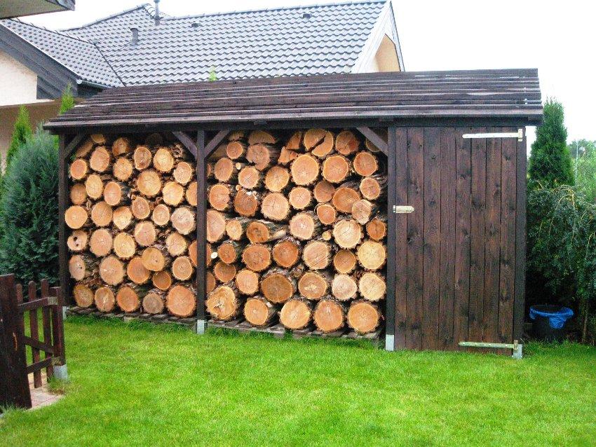 Открытые конструкции состоят из 2 стенок, крыши и пола, который приподнимается для защиты дров от промокания