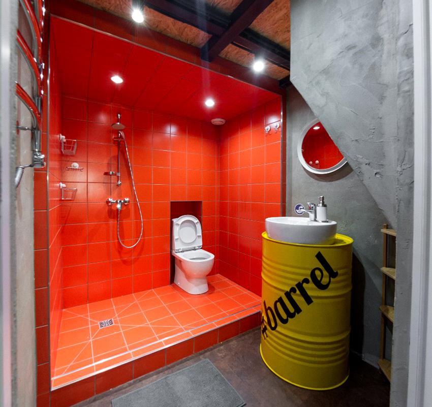 Пример планировки душевой объединенной с туалетом в нише