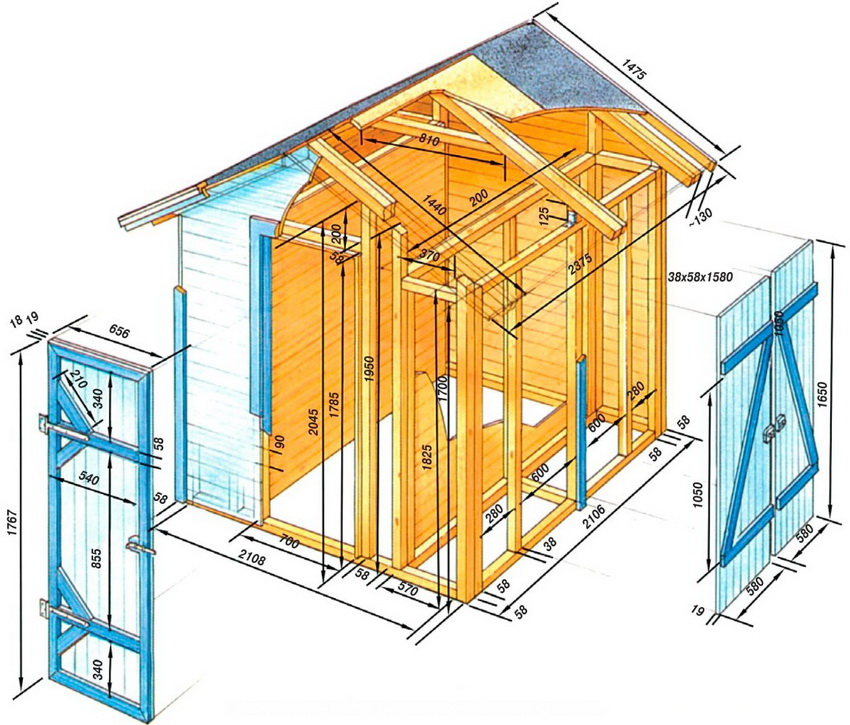 Схема конструкции хозблока с размерами