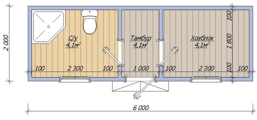 Хозблок с душем и туалетом - план постройки