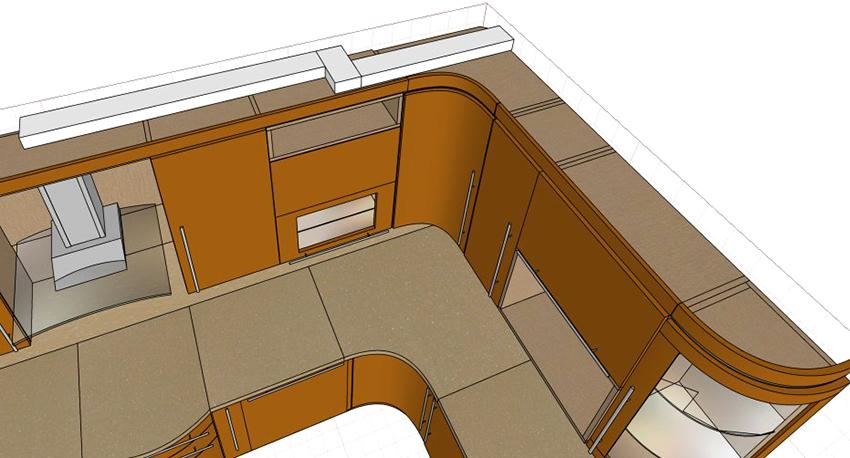 Схема с примером расположения вентиляционного короба в кухне