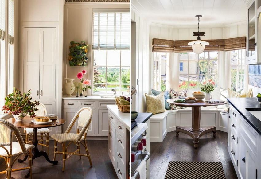 Чтобы расположить круглый стол наилучшим образом, следует использовать особенности кухни