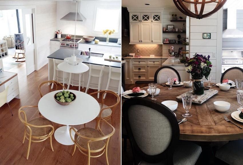 Конструкция стола на одной ножке создает иллюзию увеличения свободного пространства в помещении