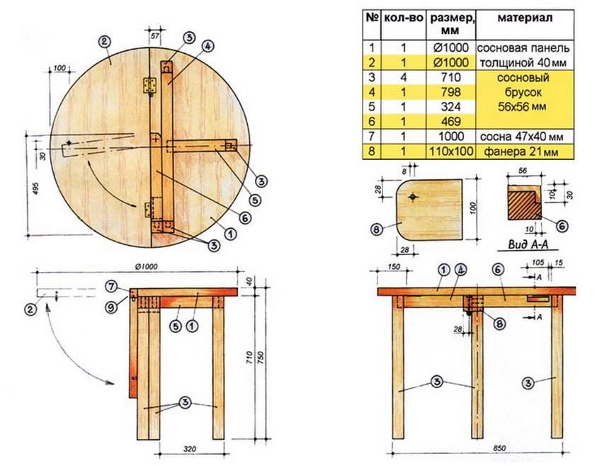 Чертеж круглого раздвижного стола с размерами