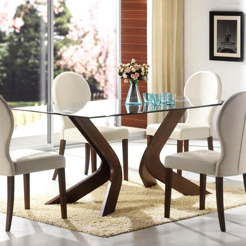 Ножки для стеклянного стола могут быть самой разной формы и изготавливаться из дерева или металла