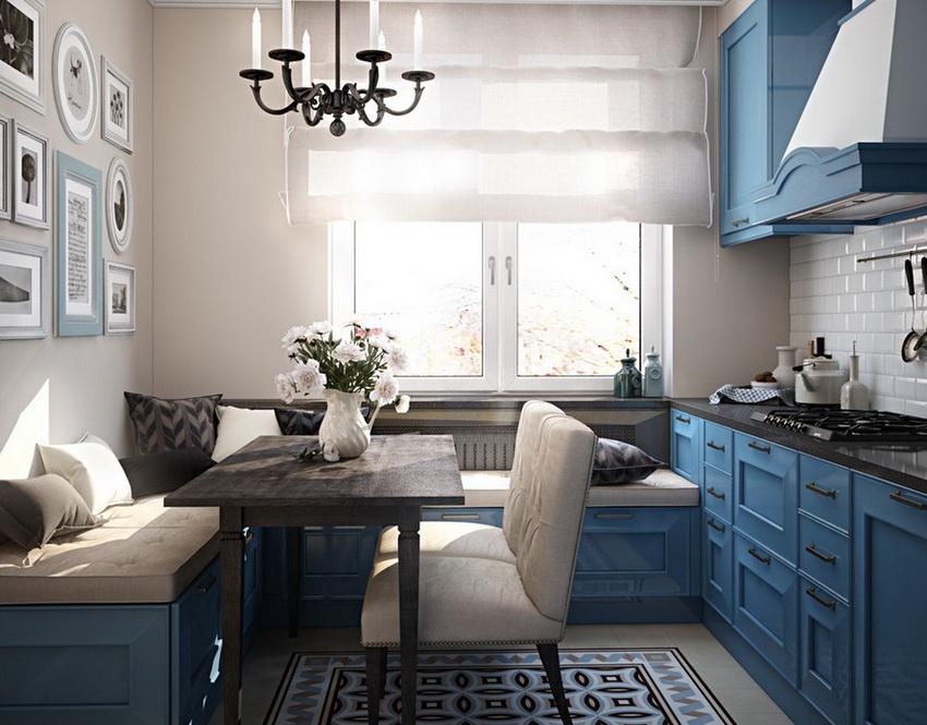 Использование кухонного уголка позволяет оптимизировать посадочные места, за счет чего экономится пространство кухни
