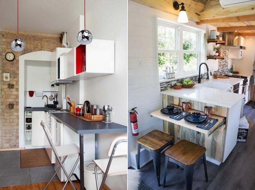 Откидные и выдвижные конструкции монтируются в кухонную мебель или крепятся к стене